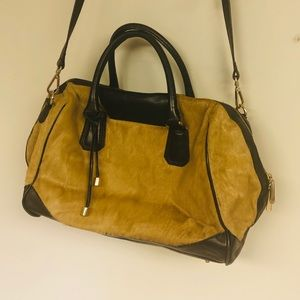 POVERTY FLATS Faux Fur and Leather Bag